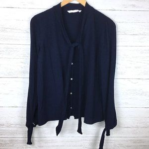 Zara Women's Navy Blue Crinkle Top Button Front